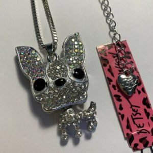 Betsey Johnson Jewelry - Betsey Johnson Rhinestone Boston Terrier Necklace